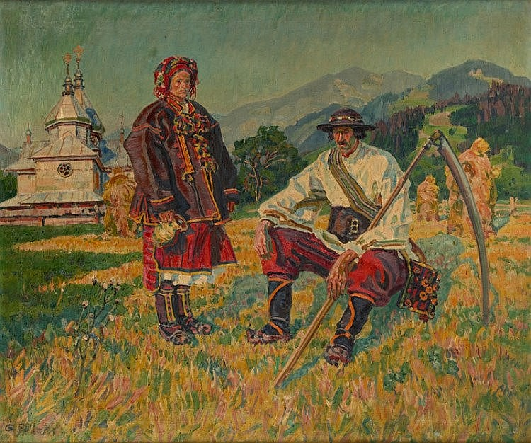 Gustaw Pillati (1874 - 1931) Hutsuls in Front of a Church