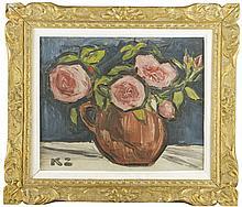 Kazimierz Zieleniewski (1888 - 1931) Roses in a vase