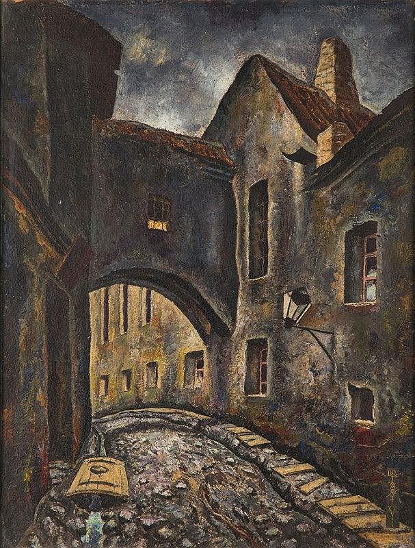 Bronisław Jamontt (1886 - 1957) Street in a Jewish Quarter - Vilnius, 1928