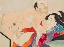 Ikeda Terukata (1883 - 1921) Shunga with Man and Woman