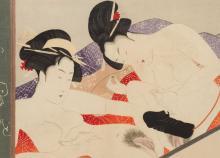 Ikeda Terukata (1883 - 1921) Shunga with two Woman
