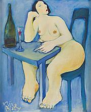 Miro Bialy (b. 1966) Nude Lonely and Drinking, 1999