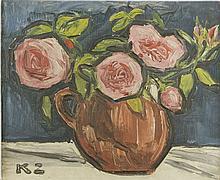 Kazimierz Zieleniewski (1888 - 1931) Roses in vase