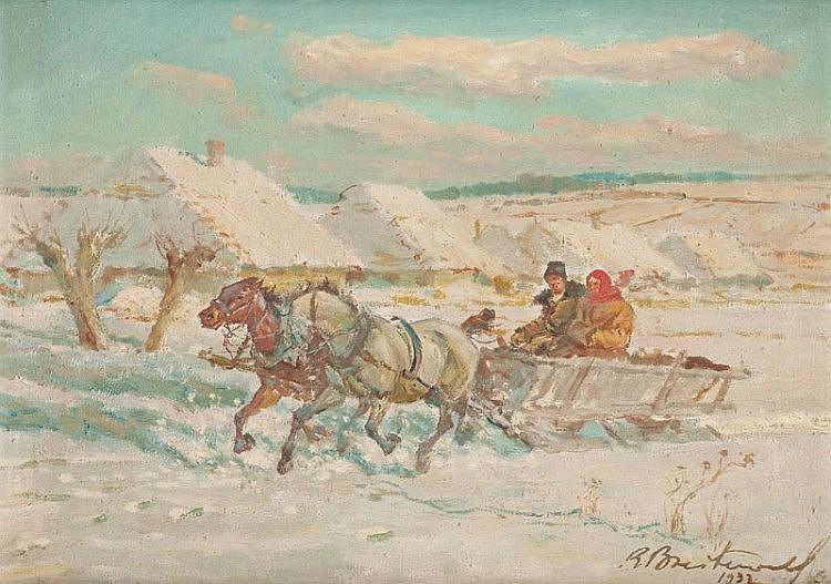 Roman Antoni Breitenwald (1911 - 1985) Horse team in winter, 1937