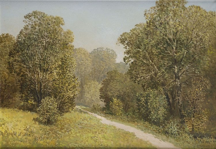 Konstanty Mackiewicz (1894 - 1985) Forest landscape with a road