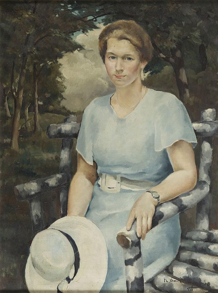 Mieczyslaw Serwin-Oracki (1912 - 1978) Female portrait, 1938