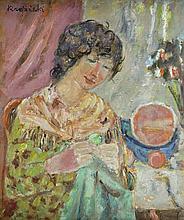 Czeslaw Rzepinski (1905 - 1995) Portrait of a woman in the interior