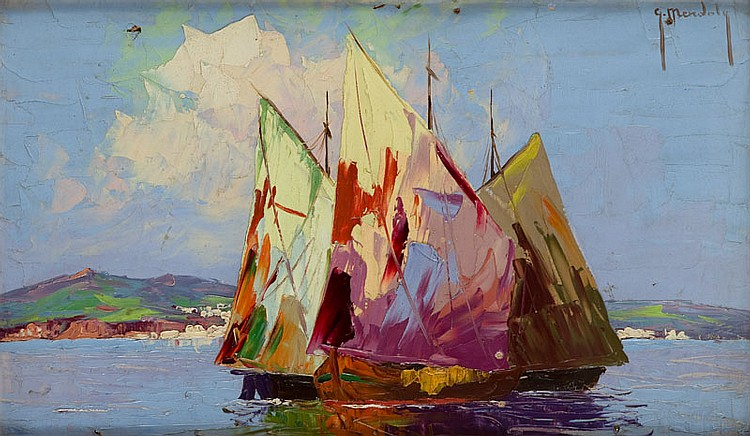 Grzegorz Mendoly  (died 1943) Sailing ships at sea