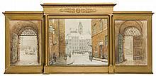 Tadeusz Cieslewski (son) (1895 - 1944) Triptych - View of Warsaw's Old City, 1921