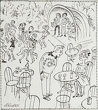 Zbigniew Lengren (1919 - 2003) Lifebuoy, satirical illustration, 1970s/1980s