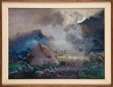 Stanislaw Galek (1876-1961) 'Tatra mountains. Chalet in Dolina Pieciu Stawow', 1917