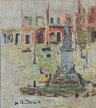 Hanna Rudzka-Cybisowa (1897 - 1988) Cityscape with a Monument