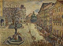 Bronislaw Wiktor (1886 - 1961) Lviv Market Square
