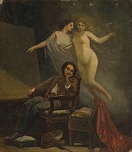 Feliks Sypniewski (1830 - 1902) Self Portrait with Muses