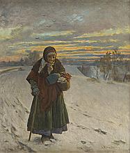 Antoni Kozakiewicz (1841 - 1929) Old Woman in a Winter Landscape