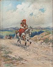 Tadeusz Rybkowski (1848 - 1926) Goral Woman on a Horseback, 1900
