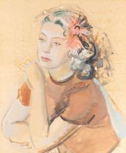 Rajmund Kanelba (Kanelbaum) (1897 - 1960) Portrait of lady with veil in hair, 1938