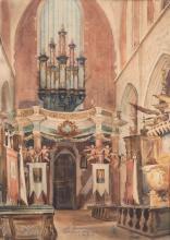 Antoni Chrzanowski (1905 - 2000) Interior of Corpus Christi Church in Krakow, 1946