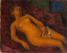 Leonid Frechkop (1897 - 1982) Lying woman nude with the red fabric, 1954