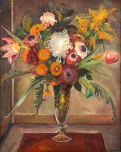 Gustaw Gwozdecki (1880 - 1935), Flowers in a glass vase, 1930-1934