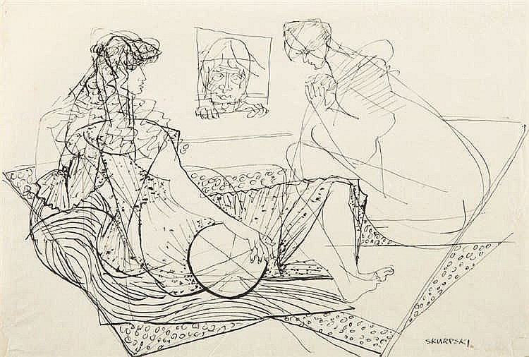 Hieronim Skurpski (1914 - 2006) Women on the couch