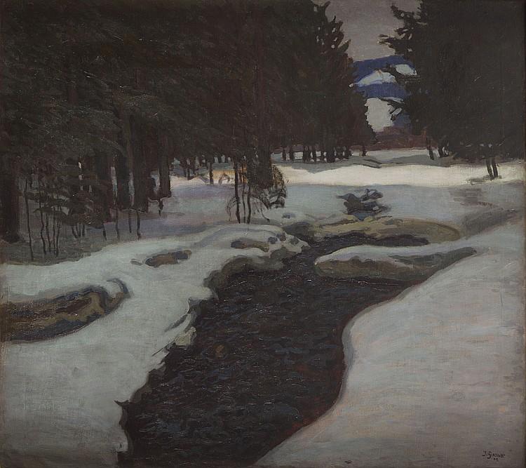 Jakub Glasner (1879 - 1942) Stream in a Winter, 1909