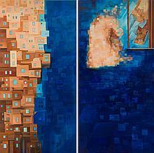 Anna Warenik-Gabbiani (b. 1981) Tower 1, Tower 2, diptych, 2007