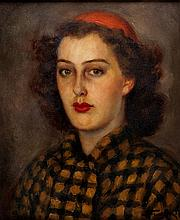 Leonid Frechkop (1897 - 1982) Portrait of young lady in red beret, 1937
