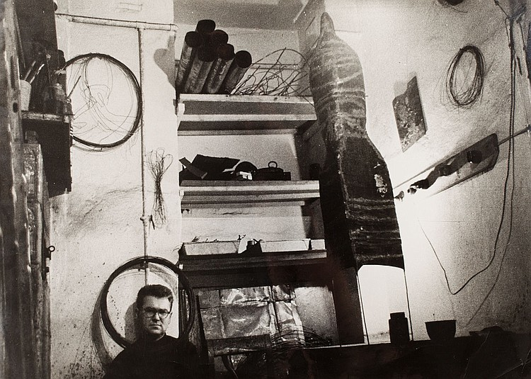 Marek Piasecki (1935 - 2011) Beksinski in his studio in Sanok