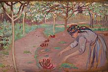 Leon Kowalski (1870 - 1937) In a garden