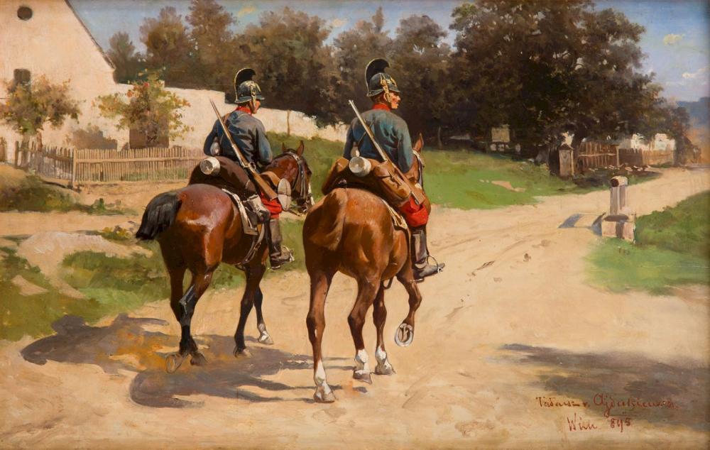Tadeusz Ajdukiewicz (1852 - 1916), Mounted patrol, 1895