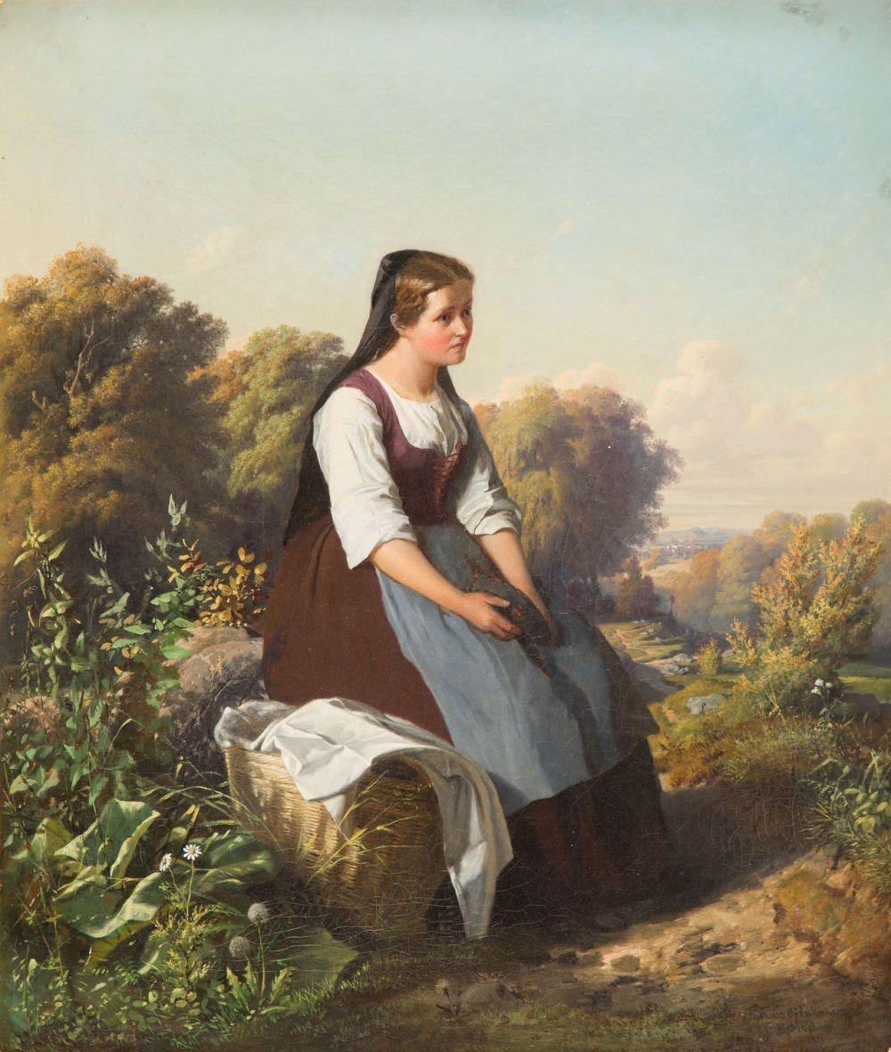 Tadeusz Ajdukiewicz (1852 - 1916), Girl with a basket, 1875