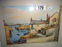 A Thomas Herbet Victor (1894-1980) watercolour Old Wharf, Mousehole