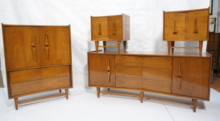 4pc american modern walnut bedroom furniture pr for American walnut bedroom furniture uk