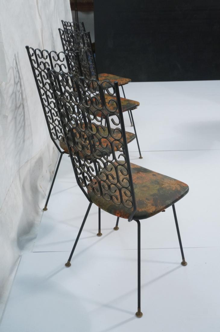 set 4 arthur umanoff tall back metal dining chair. Black Bedroom Furniture Sets. Home Design Ideas