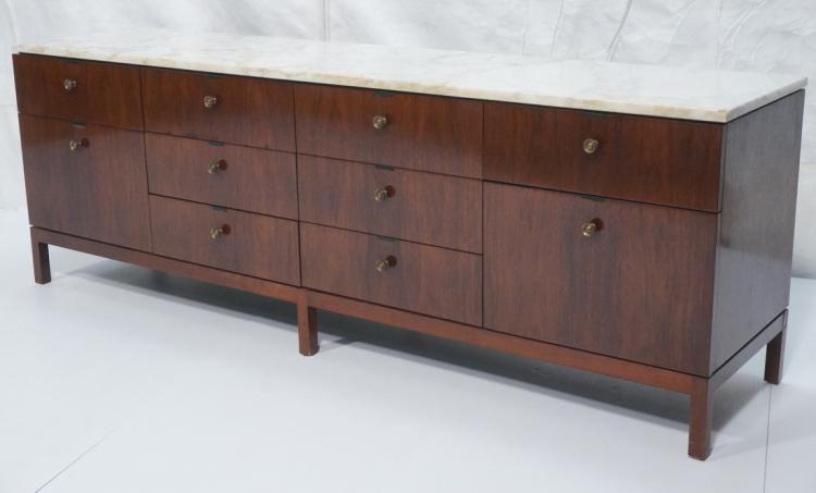 Credenza Dark Brown : Knoll marble top modern credenza sideboard. dark