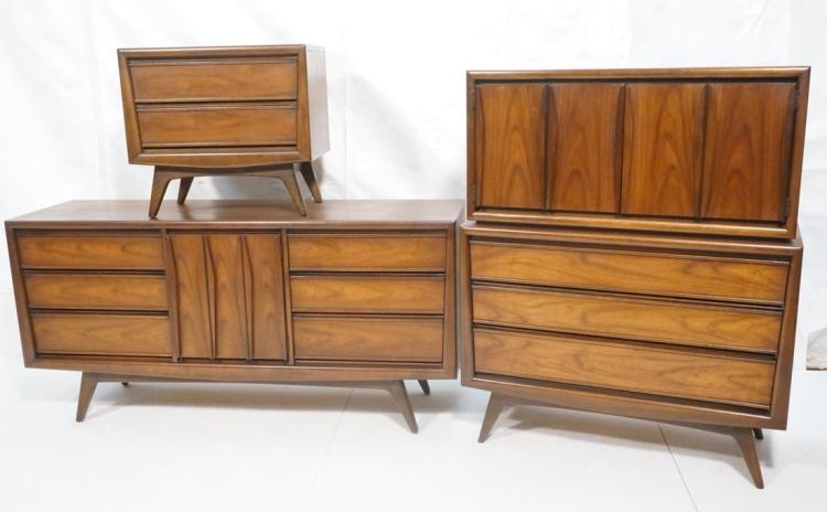 3pc american modern walnut bedroom furniture hig for American black walnut bedroom furniture