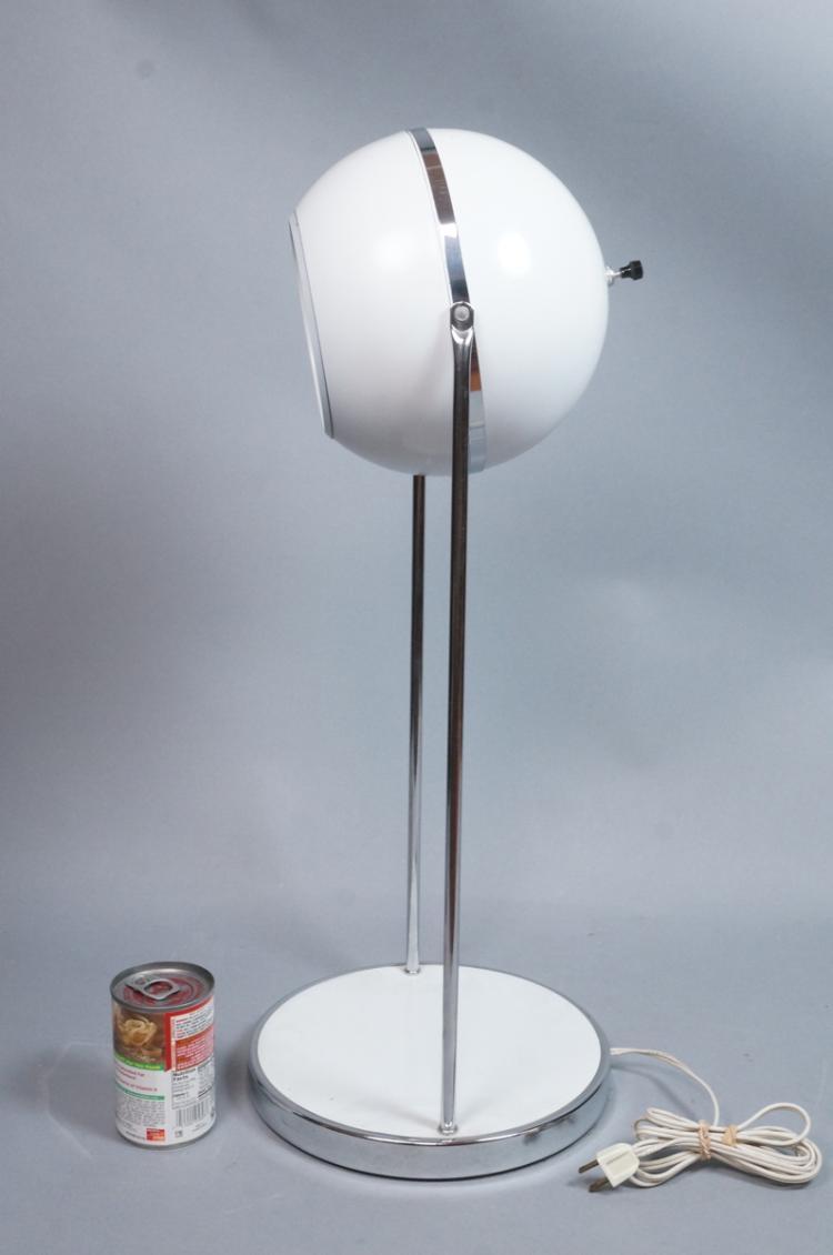 modern white enamel chrome table lamp round base. Black Bedroom Furniture Sets. Home Design Ideas