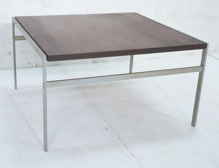 Modern Rosewood Steel Square Cocktail Table 1 T