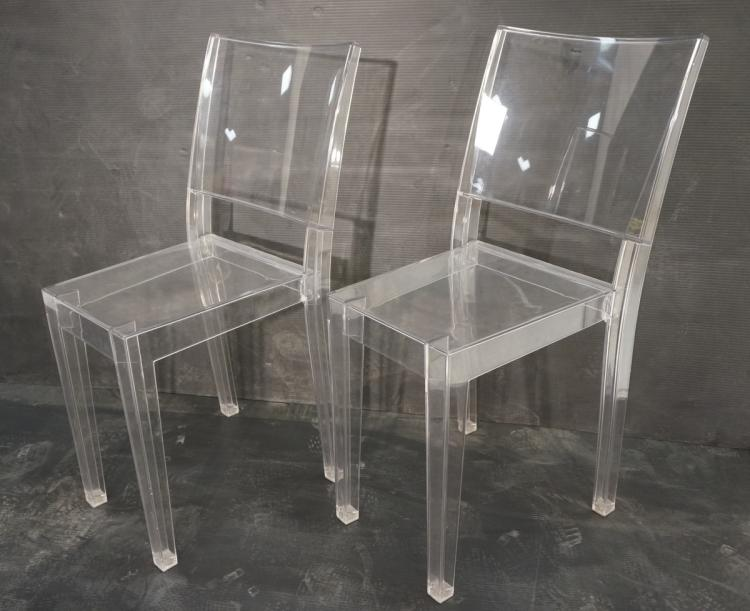 Pr phillipe starck la marie clear lucite chairs for Chaise la marie starck