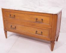 Marble Top 2 Drawer Antique Dresser. 2 deep drawe