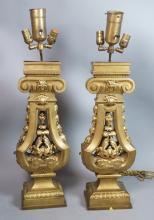 Pr Heavy Gilt Bronze Architectural Table Lamps. C