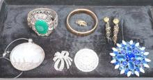 9pc Vintage Costume Jewelry. Sterling & mother of