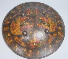 Heavy Metal Persian Domed Shield. Hand painted im