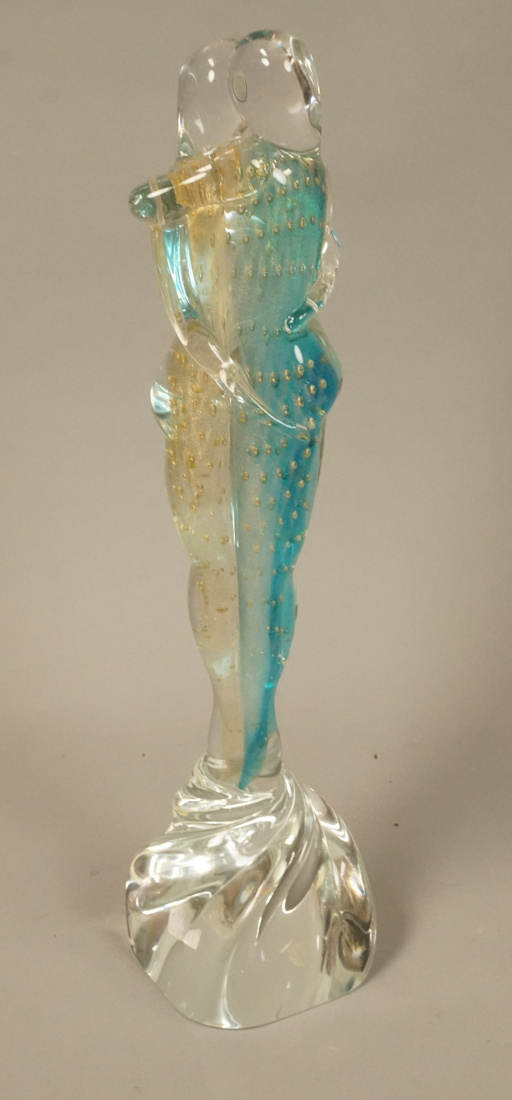 Signed art glass sculpture kissing couple clear
