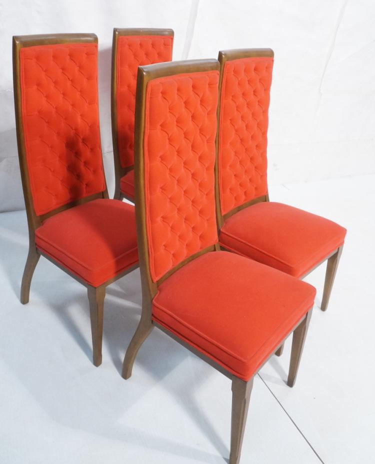 4 Tufted Red Velvet Tall Back Dining Side Chairs