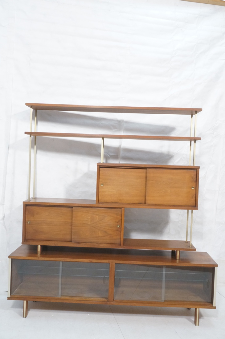 American Modern Walnut Bookcase Shelf Unit Squar