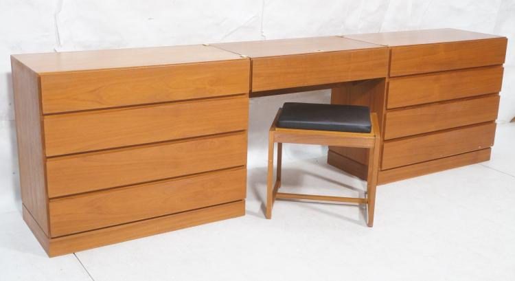4pc danish teak modern bedroom set pr of bachelo for Danish teak bedroom furniture