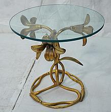 ARTHUR COURT Gilt Metal Floral Form Side Table. T