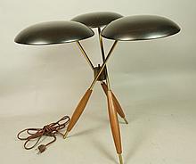 GERALD THURSTON Triple Shade Tripod Table Lamp. A